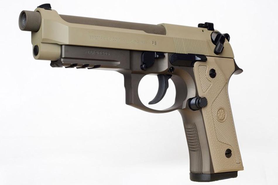Side view of the flat dark earth Cerakote finished Beretta M9A3 9mm pistol