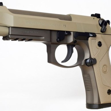 Side view of the flat dark earth Cerakote finished Beretta M9A3 9mm pistol