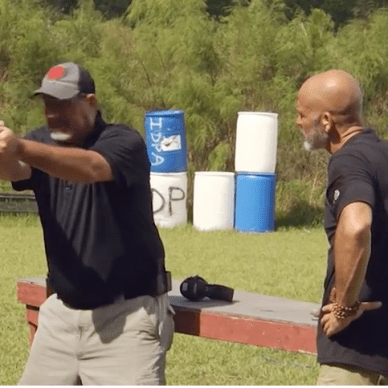 Rob Leatham and Rob Pincus on the firing line