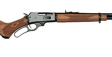 Lever action rifle, pointed right on a white background