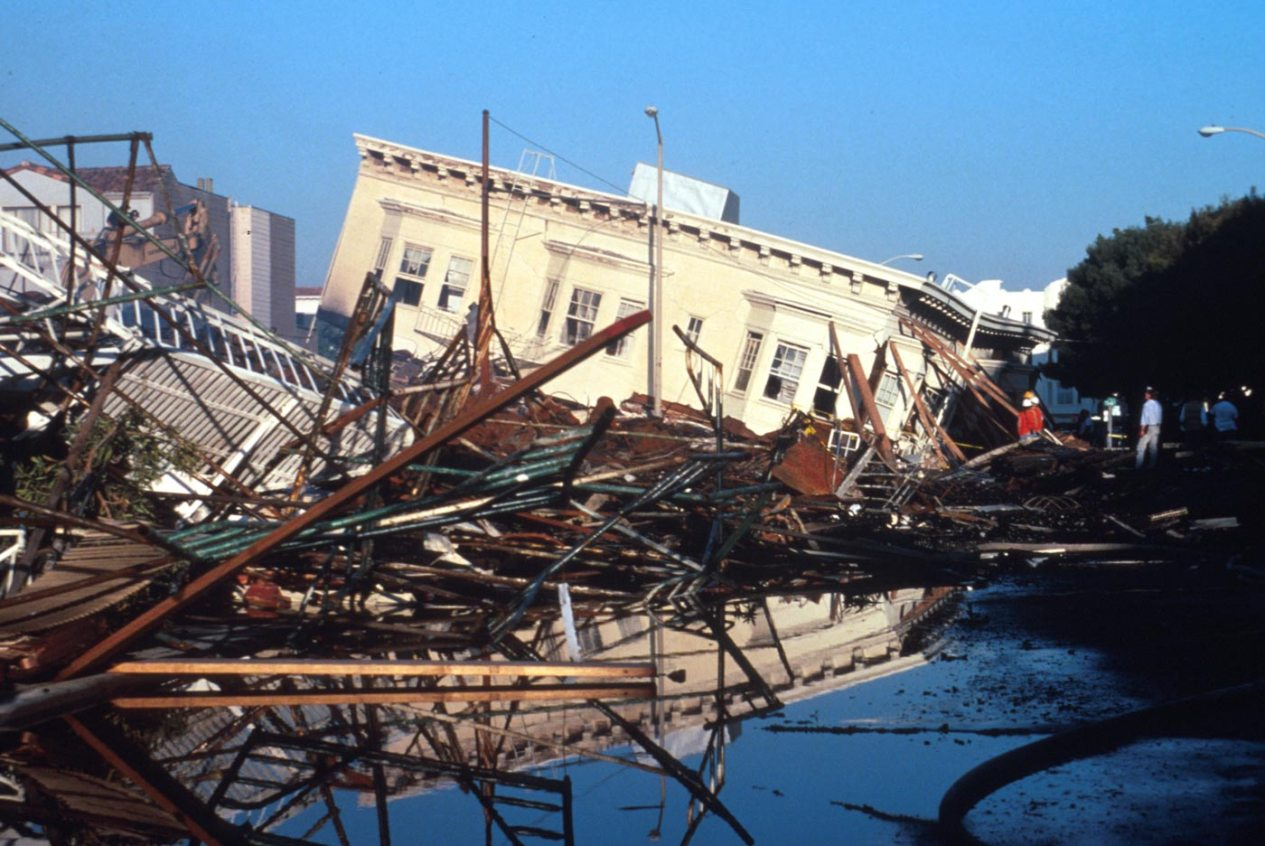 Building collapsed due to an earthquake.