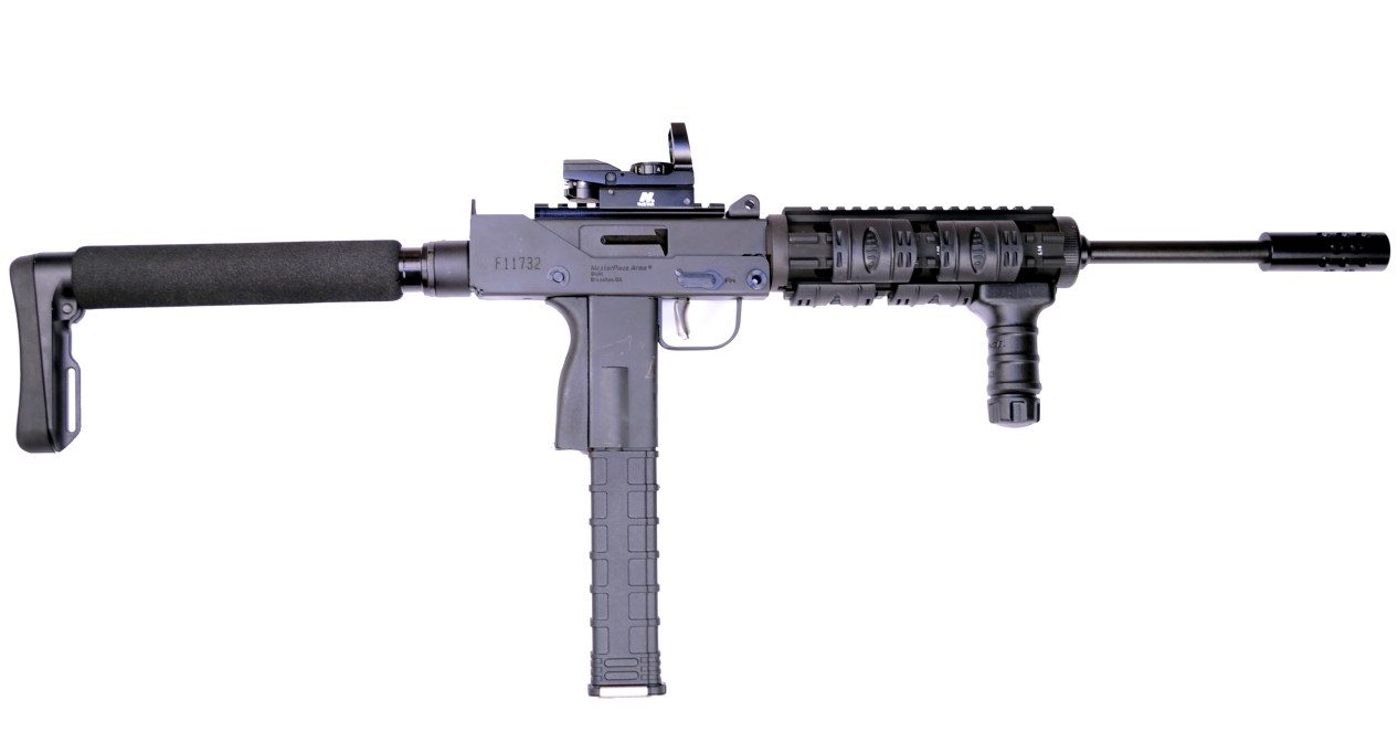 Black MPA9300SST-X with the barrel pointed to the right on a white background.