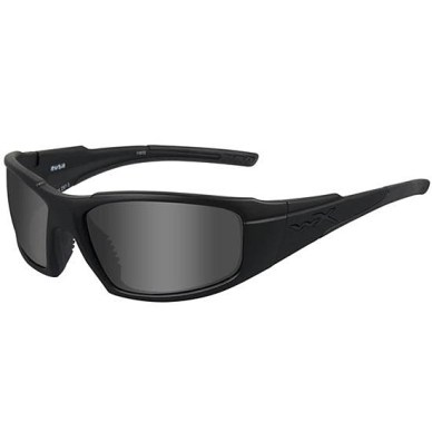Picture shows a pair of black-framed sunglasses.