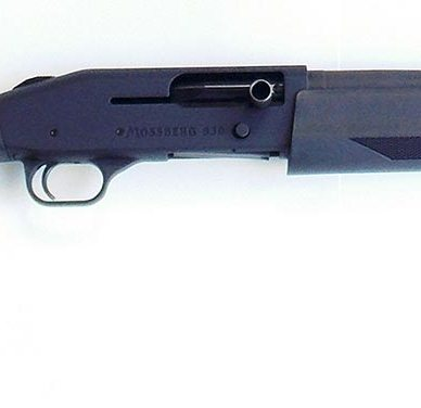 Black Mossberg 930 Shotgun barrel pointed to the right on a white background