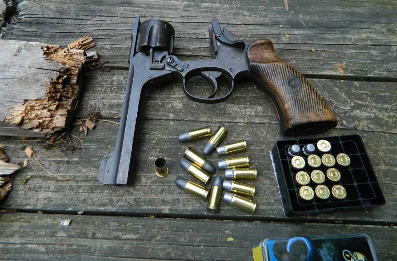 Enfield revolver opened with ammunition