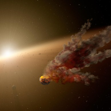 Artist rendition of an asteroid falling to Earth