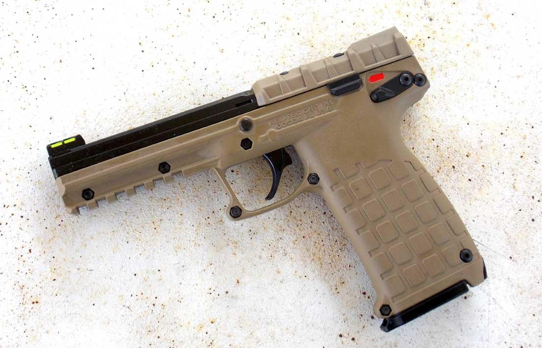 Left side of the PMR-30 pistol in Desert Tan