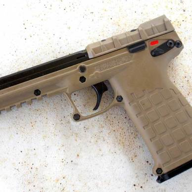 Left side of the PMR-30 pistol in Desert Tan