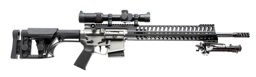 AR-15 style bolt-action rifle with black tactical stock, bipod and riflescope.