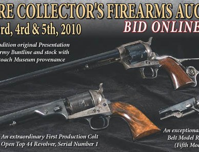 Black background with antique gun. Poster style image for upcoming Rock Island Auction