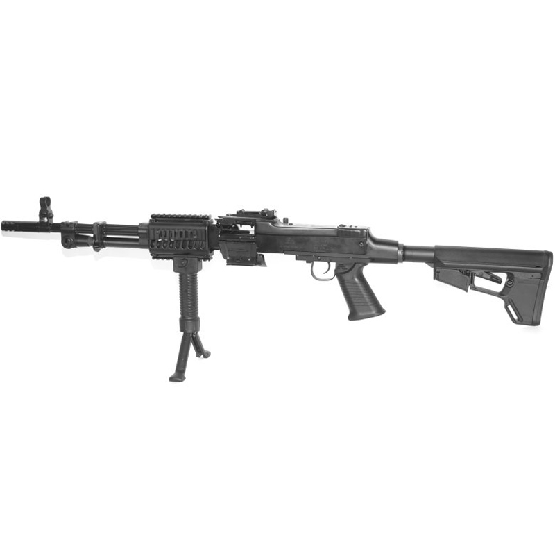 Picture shows a black, belt-fed semiautomatic RPD rifle.