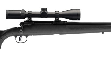 Picture shows a black scoped bolt-action rifle with a synthetic stock