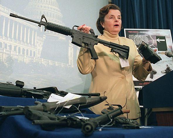 Senator Dianne Feinstein holding an AR-15
