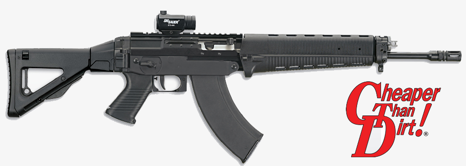 Black SIG SAUER 556R with the barrel pointed to the right on a white background.