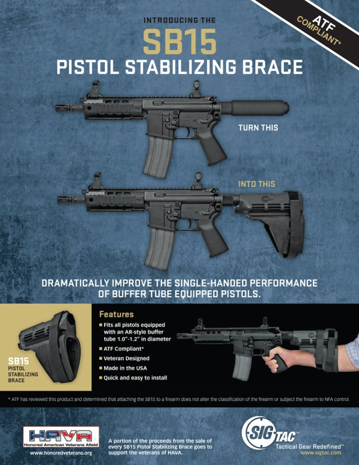 Picture shows SIG Sauer's ad for the pistol-stabilizing device
