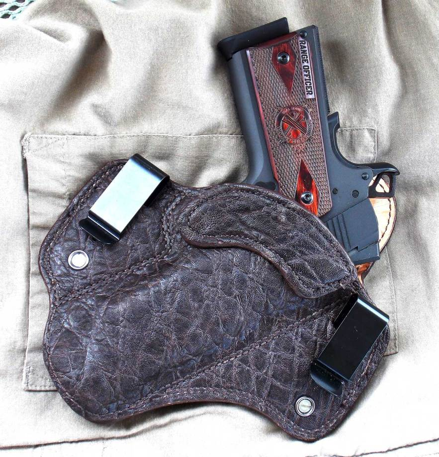 Springfield Range Officer pistol in DM Bullard Chocolate elephant leather holster