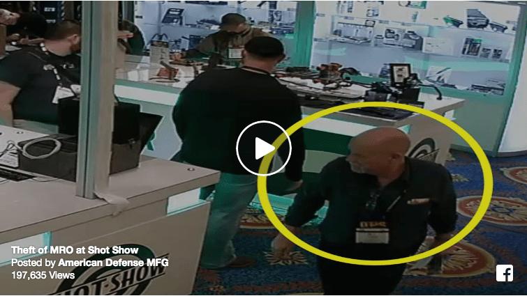 Facebook video still of man stealing a Trijicon MRO