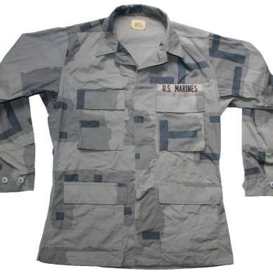 Military long-sleeve shirt in an experimental blocky urban camo gray