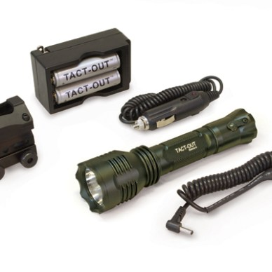 TactOut Sabre4 flashlight and accessories