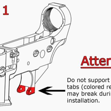 Technical illustration for installing Trigger Guard Ears