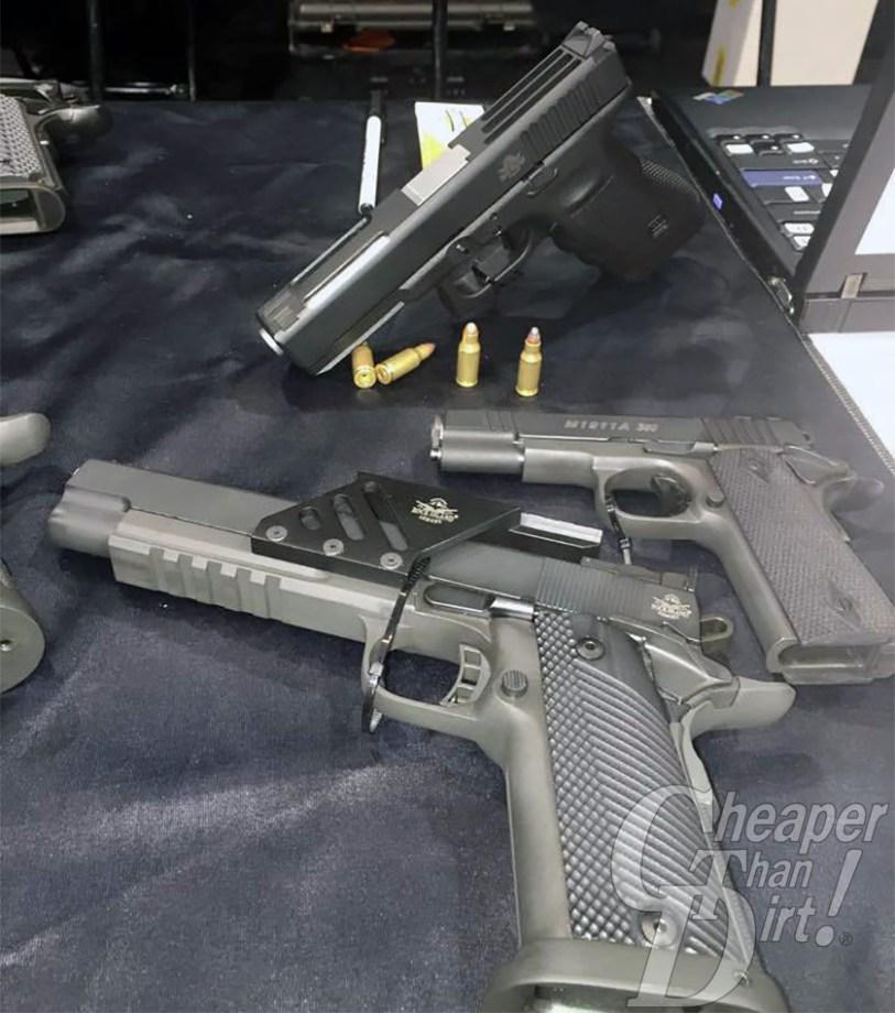 Three pistols, one GLOCK with a .22 TCM 9R conversion kit
