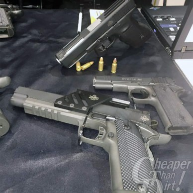 Three pistols, one GLOCK with a .22 TCM 9R conversion kit