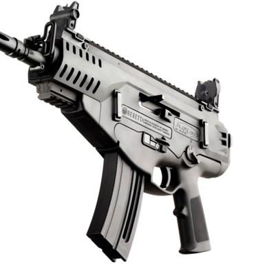 Picture shows the Beretta ARX 160 .22 Long Rifle rimfire pistol.