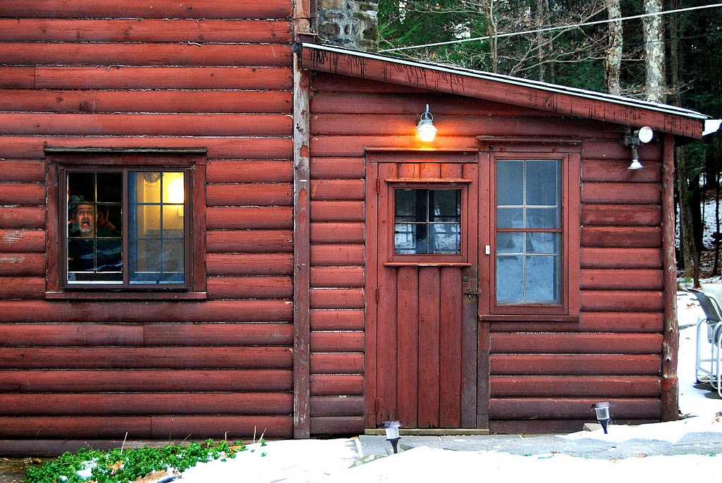 Picture shows a log cabin surrounded by snow with a man standing at the window screaming.