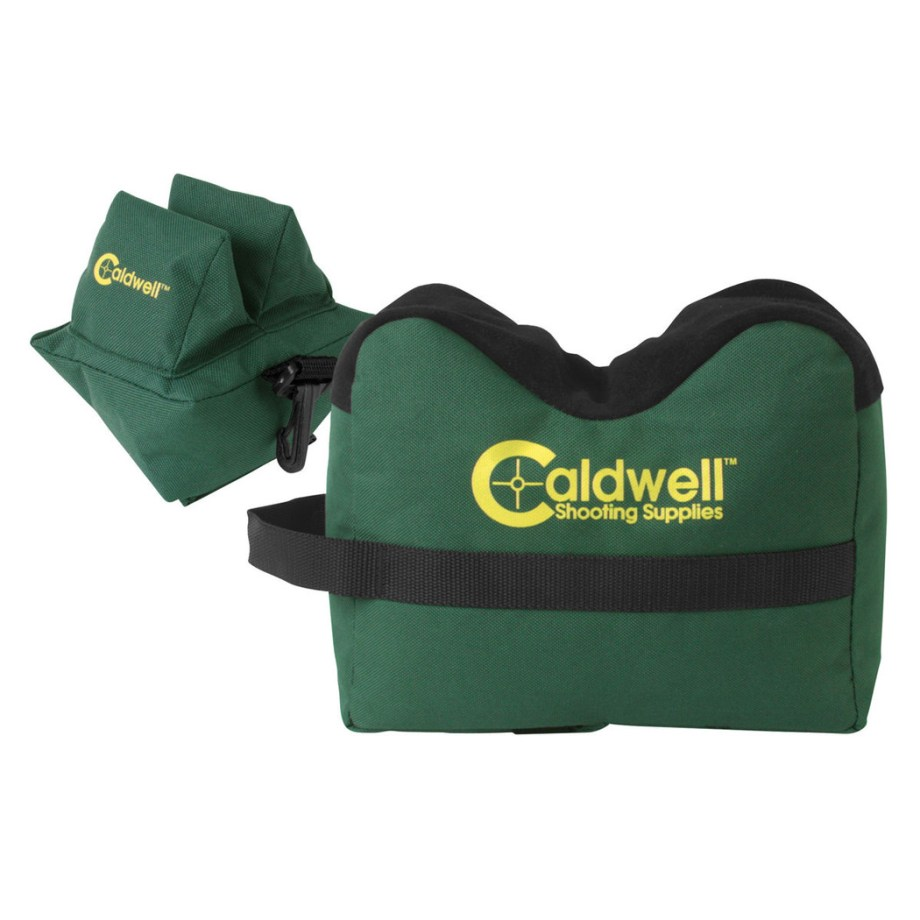 Green front and rear Caldwell filled shooting bags