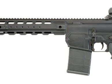 Black AR-15 style rifle in .308 Winchester made by Colt.