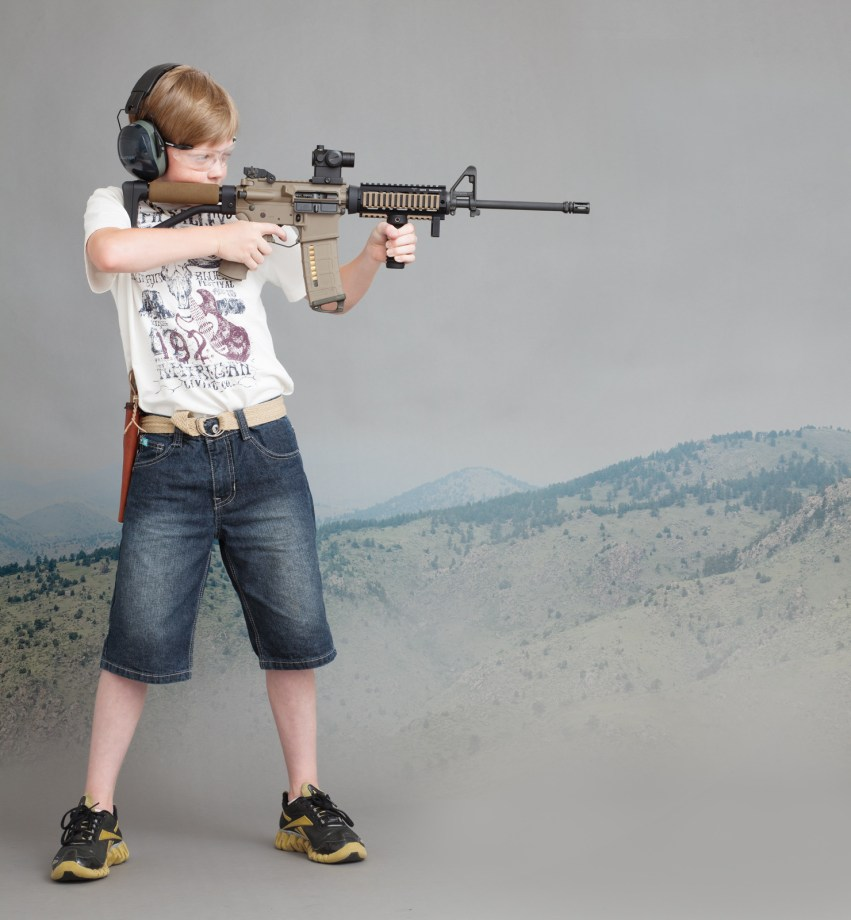 Eleven eyar old rifleman with a Doublestar AR15