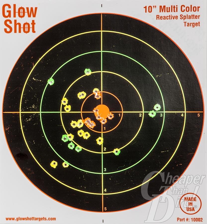 Glow Shot Reactive Target with bullet holes