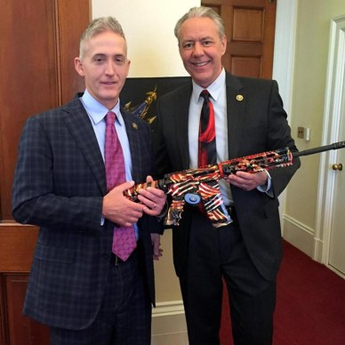 Congressional representatives Buck and Gowdy pose with an inoperable American flag cerakoted AR-1515