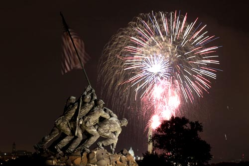 The United States Marine Corps War Memorial on July 4, 2011.