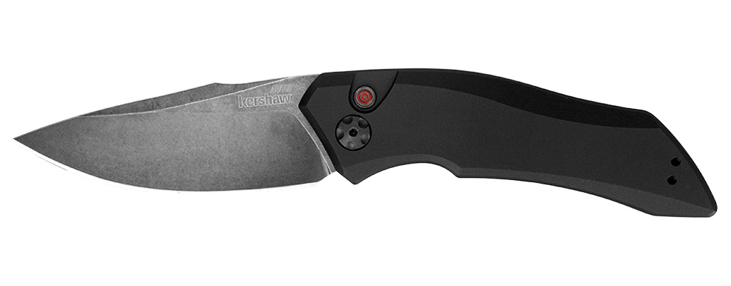 Kershaw automatic folding knife with black blade and handle