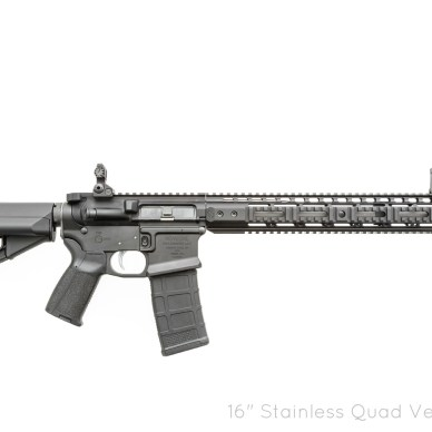 Black Noveske-built Gen III AR-15 rifle with many upgrades