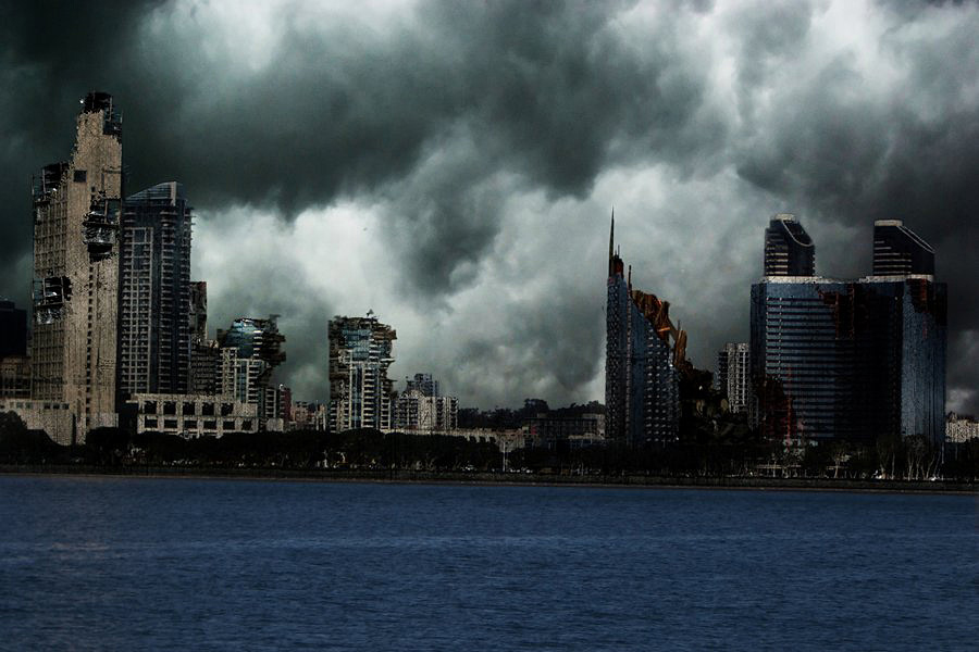 Picture shows a drawing of the San Diego skyline after an apocalyptic event.