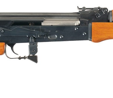 Picture shows a post-ban AK-47 with a black receiver and wood fixed thumbhole stock.