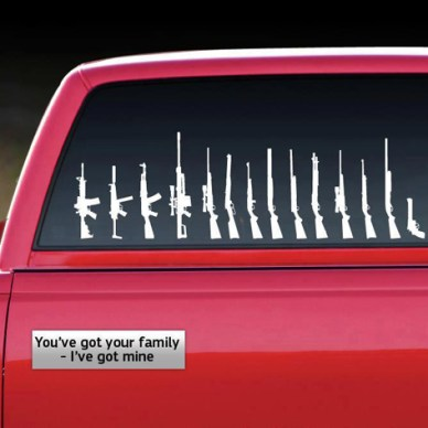 Several sticker of gun images aranged similar to tradional family stick figures