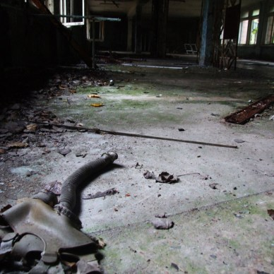 Picture shows a concrete room in the Ukraine after the Chernobyl disaster.