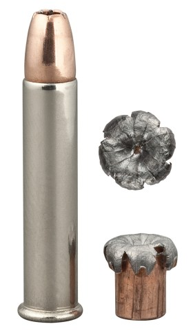 Speer .22 Magnum load, with a full cartridge on the left and 2 views of the spent cartridge on the right