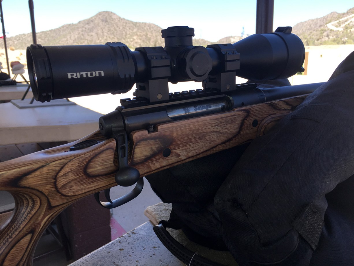 Savage Axis rifle topped with a Riton Optics scope