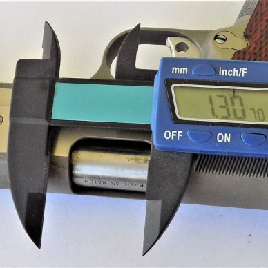 Measuring a 1911 pistol with an electronic caliper