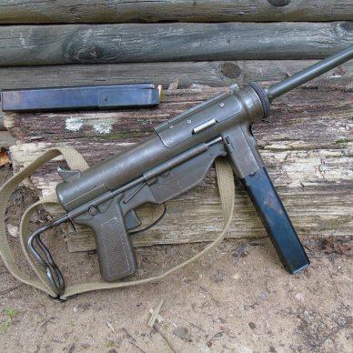 A surplus submachine Grease Gun