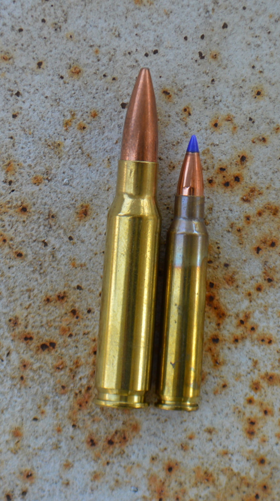 .308 Win. cartridge left and .223 Rem right