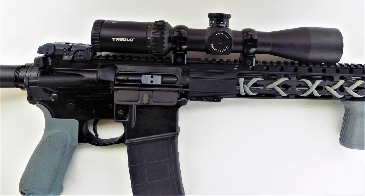 TruGlo Eminus scope mounted on a Diamondback AR-15 rifle