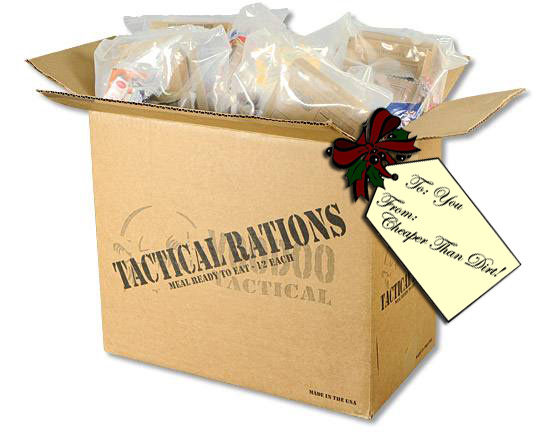 Picture shows a brown box filled with MREs.
