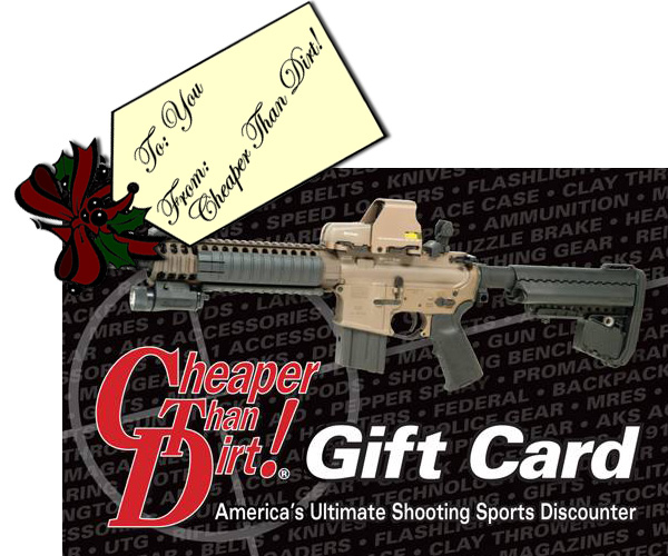 Picture shows a Cheaper Than Dirt gift card.