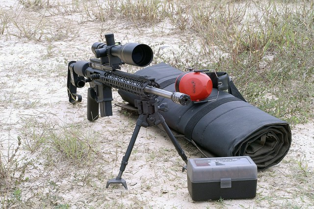 AR-15 rifle with bipod and side charge handle