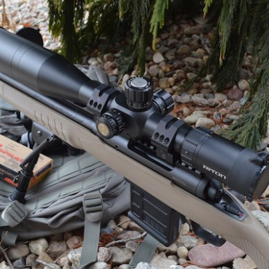 Savage 110 rifle topped with a Riton scope